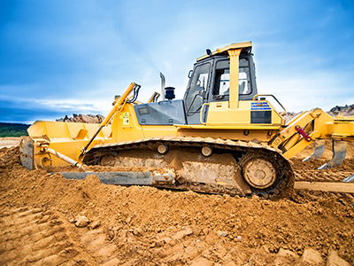 Commercial Construction-Bulldozer Moving Soil