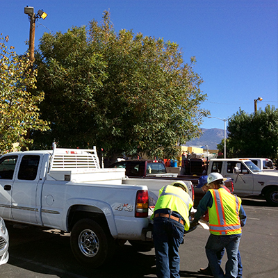 Residential Plumbing-Men Working from Truck